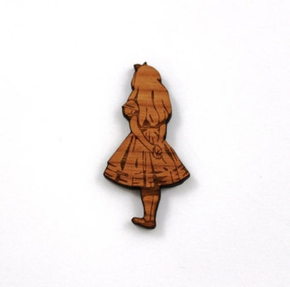 Laser Cut Supplies-1 Piece.Alice In Wonderland Charms - Cherry Wood Laser Cut -Brooch Supplies- Little Laser Lab Sustainable Wood Products