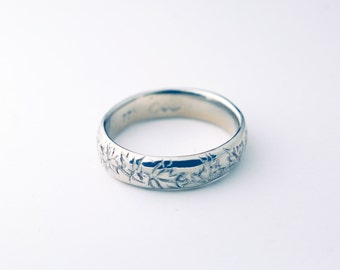 Hand scuplted maple leaves ring- Silver 925