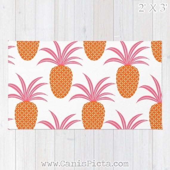 Pineapple Ananas RUG Hot Pink Neon Orange Fruit Bright Home