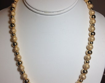 Gold Stardust and Gold Smooth Beaded Necklace
