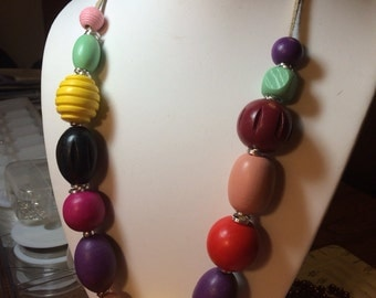 Necklace with Wood Beads