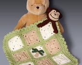 PDF Crochet Pattern File - Monkey Lovey Security Blanket