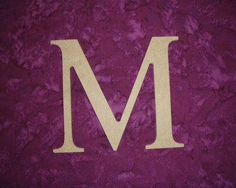 "Unfinished Wood Greek Letter M Mu Symbol Wooden Letters 6"" Inch Tall Paintable"