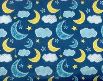 Popular items for moon star cloud on etsy for Moon and stars fleece fabric
