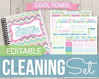 Introductory Rate-EDITABLE and INSTANT DOWNLOAD-Cleaning Printable Set-Bright Chevron Home Binder Cleaning Schedules-11 documents