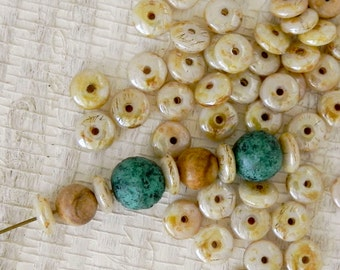 6mm Opaque Luster Picasso Donut Bead - Opaque Luster Picasso Rondelle Spacer Beads - 1588 - 50 Beads