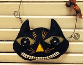 Handmade Woolfelt Wiley the Smiley Cat Cupboard Hanger