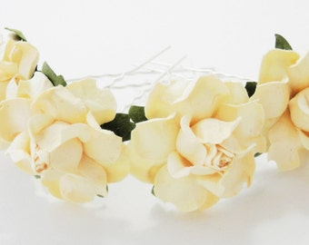 Pale Yellow Rose Hair Pins Set of Four Spring Summer Wedding Accessory