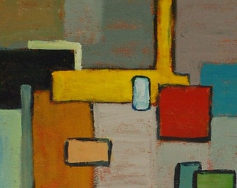 """Original  Abstract art primary colors, yellow and gray painting, geometric, acrylic painting on canvas, 11"""" X 14"""" by Garima Parakh,"""