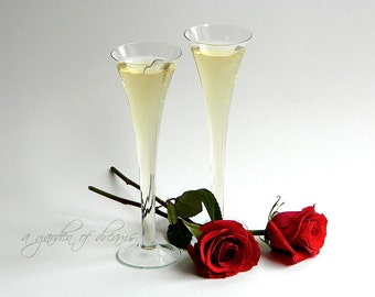 "Pair of large 10"" champagne flutes romantic tall hollow stem glasses wedding table serving glass simple elegant glassware vase vintage"
