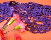 Crochet - Lace - Collar - Cape  - Capelet -- dark purple collar