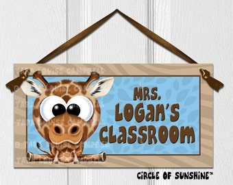 Door Sign, Giraffe, Safari Jungle Animals, Home Decor, Office Decor, School Classroom Decor