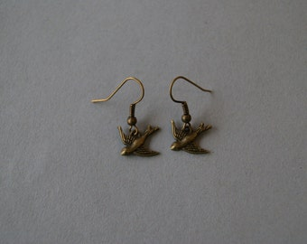 Bronzetone Swallow in Flight Earrings