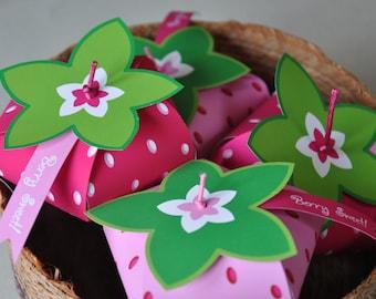 Strawberry Shortcake inspired strawberry birthday party favor box /  treat box PDF printable template for DIY decorations - Rosita Fresita