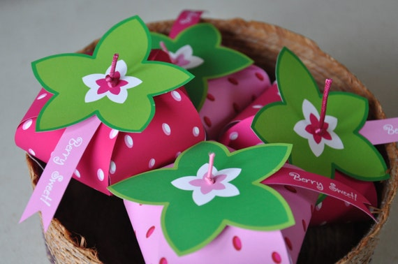 Strawberry Shortcake inspired strawberry birthday party favor box ...