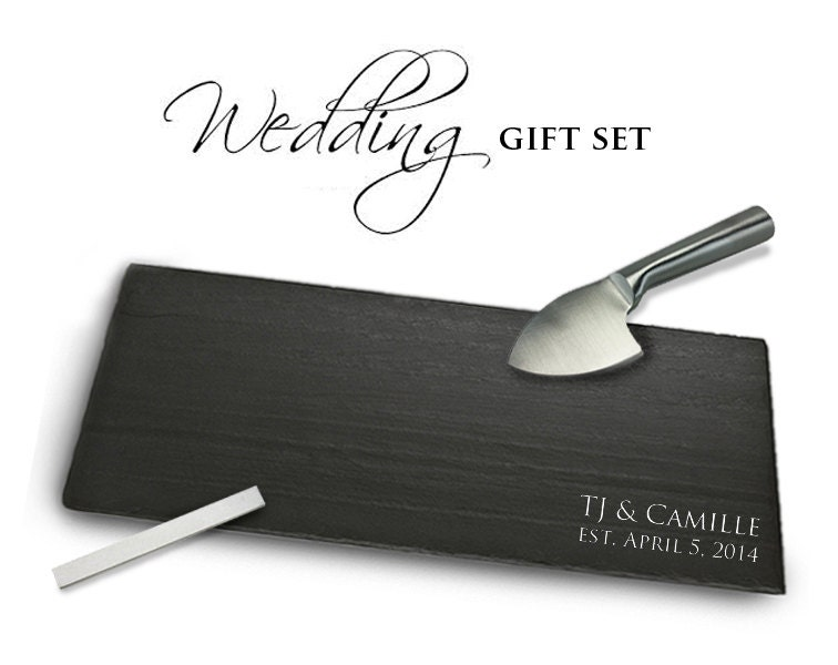 Wedding Gift Knife Set : Customized WEDDING Gift Set with Slate Knife Chalk by Slateplate
