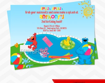 Elmo Pool Party Invitation