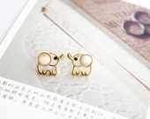 Cute Elephant Studs Earrings---simple delicate everyday jewelry with gift box