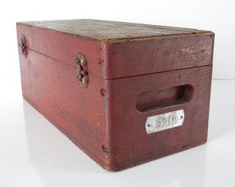 Rustic Red Tool Box ~ Vintage Wooden Box, Wood Storage Case / Workman Tools Wood Industrial Machinist Toolbox