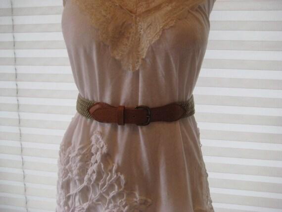 Vintage Canvas and Leather Belt, medium length belt, vintage belt, thin belt