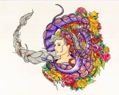 Floral Lady Octopus Watercolor Painting ART PRINTS