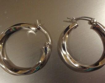 Silver Hoop Earrings Pierced 925 Sterling Silver Medium Hoops Modern Hoops Gift Birthday Anniversary