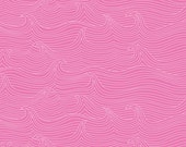 Blend Fabrics True Blue Babbling Brook Dark Pink - One Yard - Nautical Preppy Pink Wave Modern