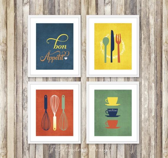 Modern Kitchen Art Set: Modern Kitchen Art Prints Bon Appetit Set Of 4 4 X 6 5 X