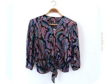 80s glitter blouse, 80s party blouse, 80s size 12 blouse