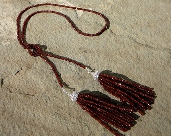 Lariat Tassel Necklace, Tassel Necklace, Tassel Jewelry, Gemstone Necklace, Mozambique Garnet, Garnet Necklace, Garnet Jewelry, Gemstones
