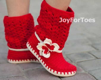Crochet Boots for the street  Butterfly Orange Outdoor Boots Spring Boots Made to Order