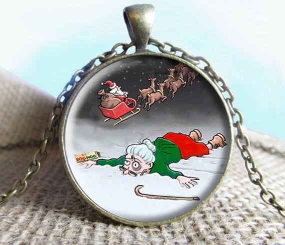 Grandma Got Run Over By A Reindeer Image Pendant, Christmas Jewelry ...