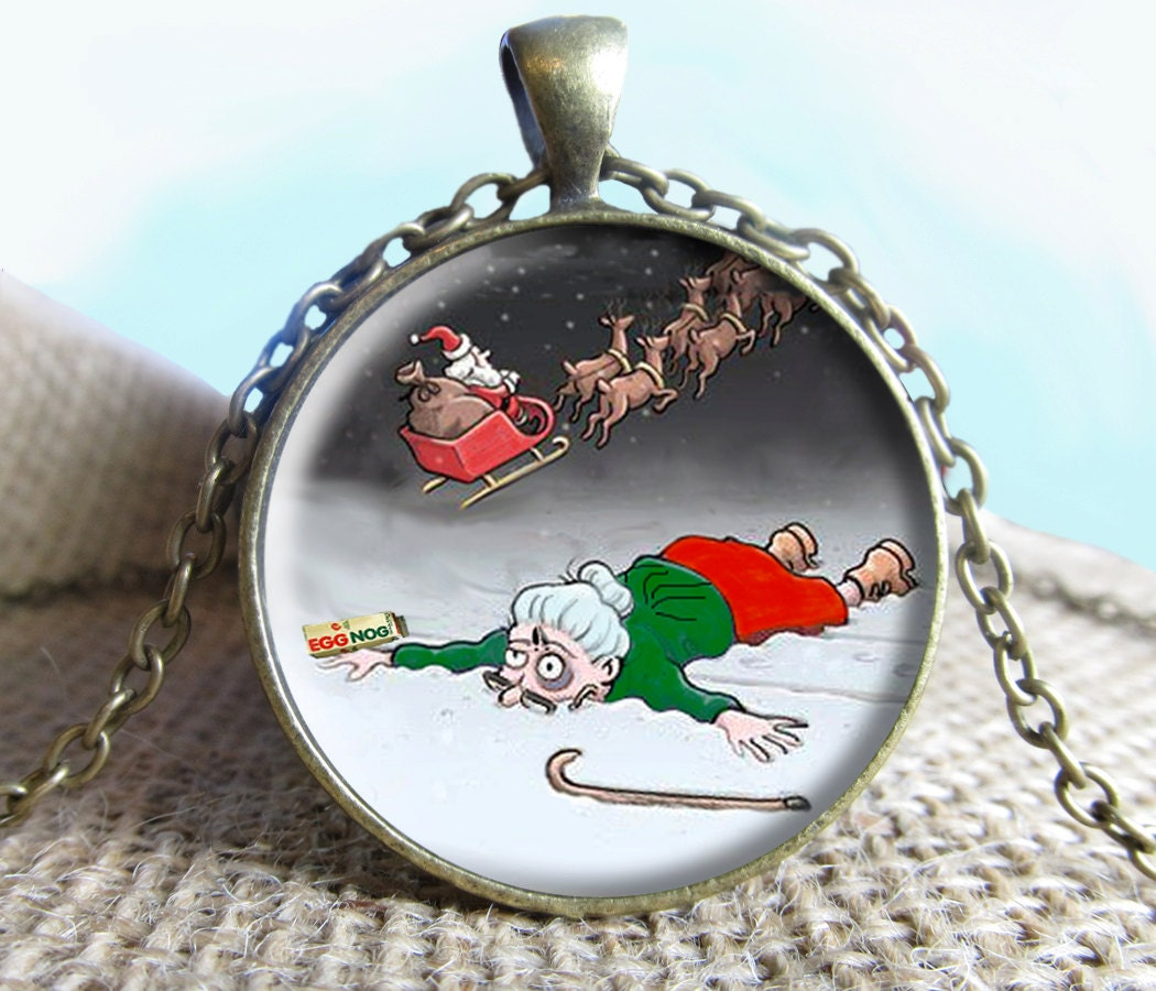 Grandma Got Run Over By A Reindeer Image Pendant by NeedfulObjects