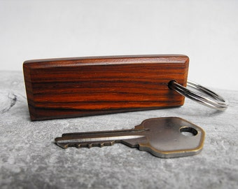 Exotic Cocobolo Rosewood Key Chain - Hand Shaped Wooden Keychain with Silver Tone Split Ring