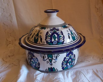 Serving dish blue and turquoise medium size Moroccan style Provence France