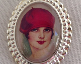 The Red Beret Vintage Beauty Silver Tone Brooch