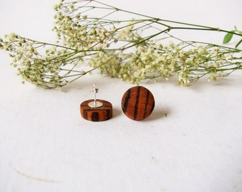 "Small Zebra wood Stud Earrings, Natural Wooden stud earrings, Sterling silver posts . 1/2"" wood discs (13mm)"