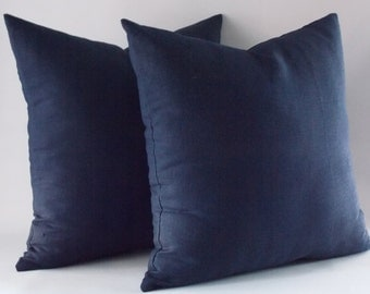 Set of 2 Navy Linen Pillow Cover, Cushion Cover, Decorative Throw Pillow, Modern Pillow, 16,18,20,22,24,26,28,30 inches