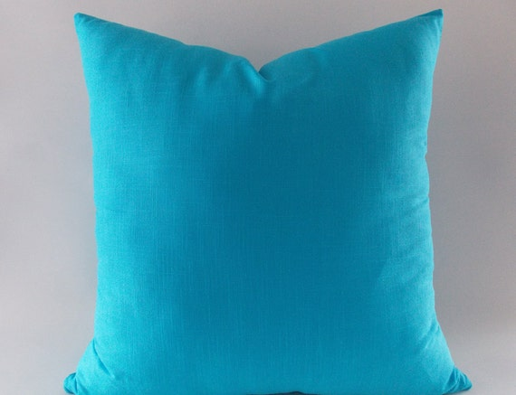Turquoise Blue Linen Pillows Cushion Cover Decorative Throw