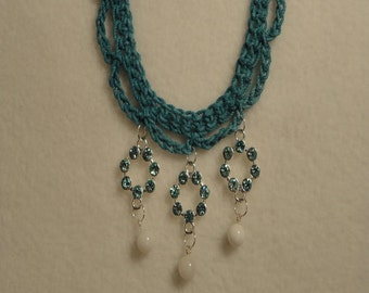 Aqua Blue Green Crocheted Necklace - Blue Green Pendants - Summer Necklace - Crocheted Jewelry - Lightweight Necklace