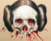 Princess Leia Skull Prisma Colored Pencil Drawing: One of a Kind Reese Hilburn Art