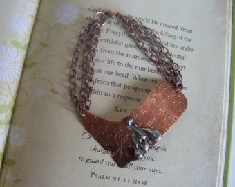 Copper, etched, boot, silver, etched copper silver spur bracelet, copper chain
