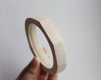 15 mm Wooden bracelet unfinished rounded rectangular - natural eco friendly-RR15