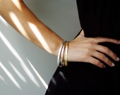 Brass hammered bangles, set of three, gold, silver and copper coloured bangles, flat, thin, modern, stacking bangles