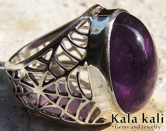 Amethyst Spiderweb Ring Handmade Sterling Silver Ring size 8 3/4 US