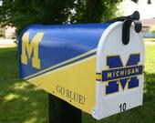Team, School, Custom Painted Mailbox by TheBusBox Custom made Blue Yellow White - Choose your color - Sports Team - School Spirit - LogoBox