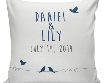Personalized LOVE Wedding Pillow, Cotton Anniversary, Gift, Cotton and Burlap Pillow Cover Choose your Date WE-07 Elliott Heath