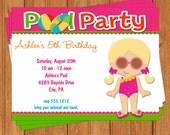 Pool Party Swimming Girl Invitation | Kids Birthday | Printable Editable Digital PDF File | Instant Download | KBI456DIY
