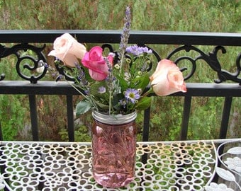 Hand Made Mason jar Frog Lid With Mason Jar - Rose Color