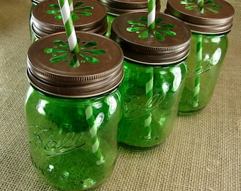 Heritage Collection Green Mason Jars and Daisy Cut Bronze Lids Jars - 6 Sets Jar and Lid-- HGCB6